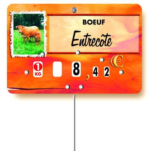 Etiquette : Paprika Viande Bovine ou Veau à texte - 8x12 cm (avec roulettes & pique inox)