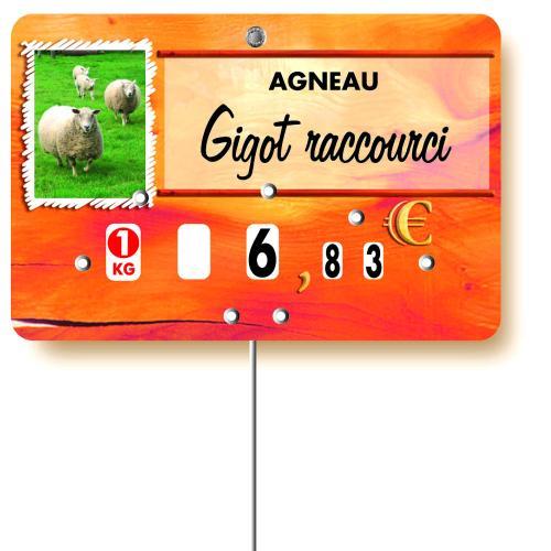 Etiquette : Paprika Agneau ou Mouton à texte - 8x12 cm (avec roulettes & pique inox)