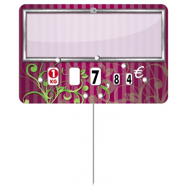Etiquette : Arabesque fushia neutre - 7x10 cm (avec roulettes & pique inox)