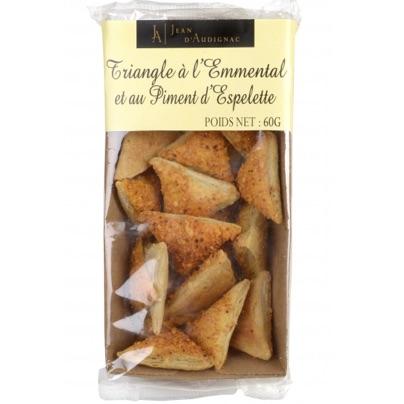 Triangles à l'emmental et au Piment d'Espelette pur beurre - 60 g (Jean d'Audignac)