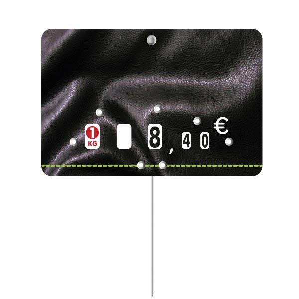 Etiquette : Presto neutre - 8x12 cm (avec roulettes & pique inox)