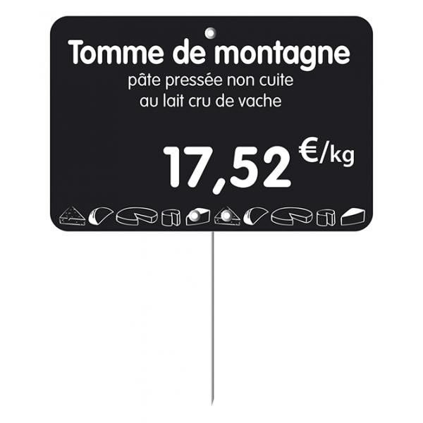 Etiquette : Noire à texte et prix décor Fromage - 7x10 cm (pique inox)