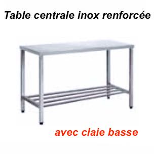 1200x700x880 mm - Table centrale en Inox renforcée avec claie basse