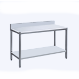 Table de découpe adossée 1600x725x890 mm avec étagère basse